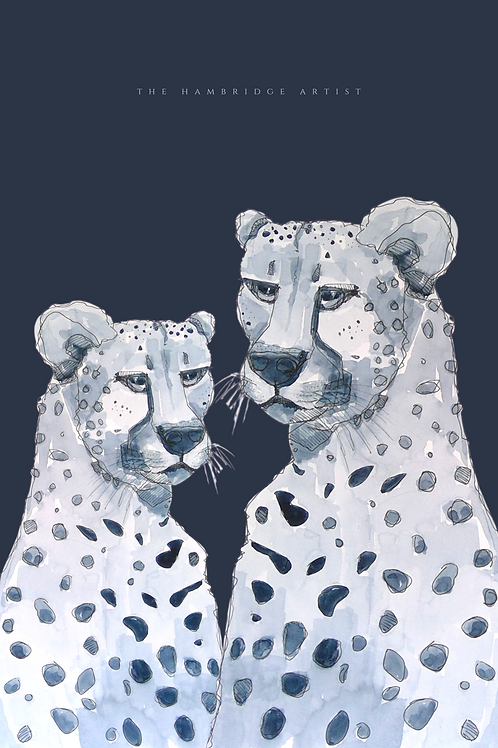 NEW 'Cheetah' Art Print (Deep Navy) - 60.5 cm x 91 cm Framed or Unframed Options