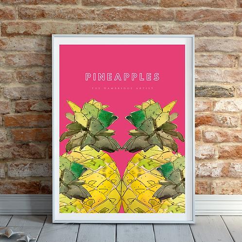 Pineapples Tropical Art Print (pink sorbet)