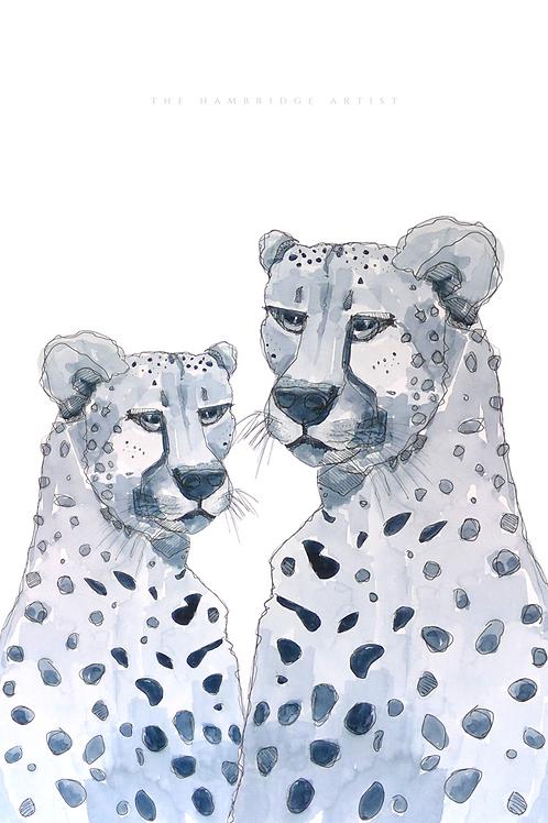 NEW 'Cheetah' Art Print (White) - 60.5 cm x 91 cm Framed or Unframed