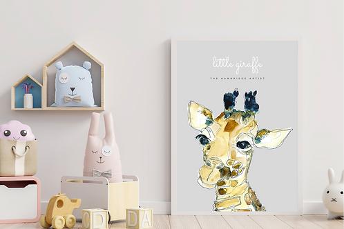 Little Giraffe Art Print (Grey)