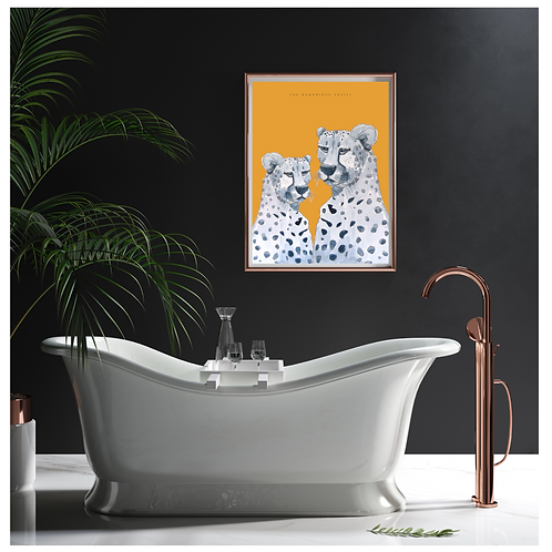 NEW 'Cheetah' Art Print (Orange) - 60.5 cm x 91 cm Framed or Unframed