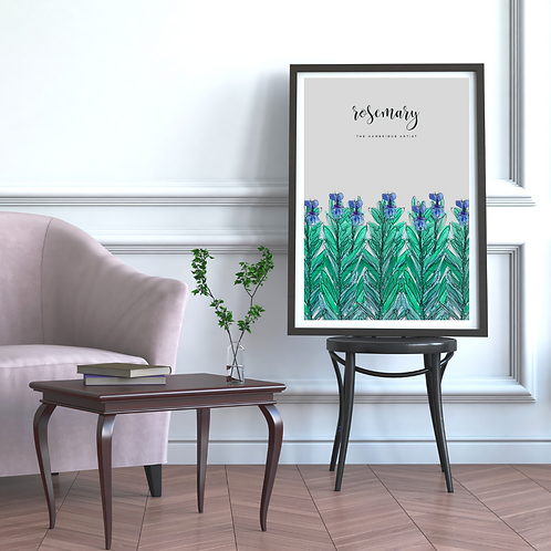 Grey Rosemary Herb Art Print