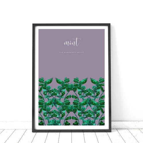 Purple Mint Herb Art Print
