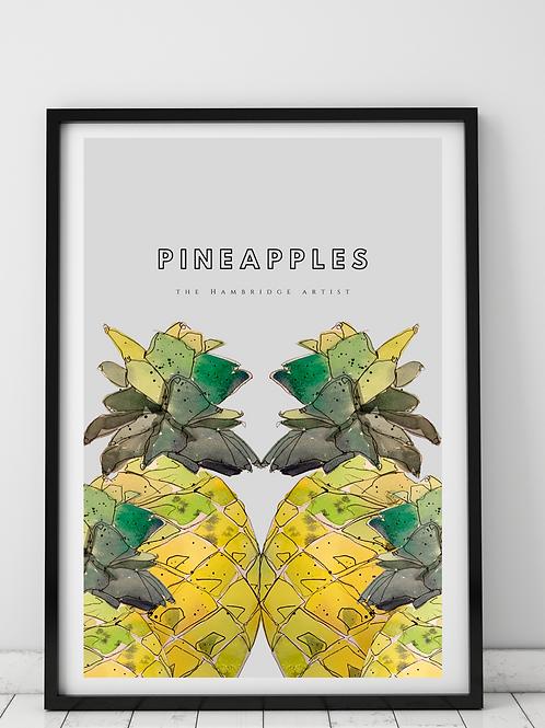 Pineapples Tropical Art Print