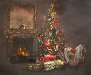 Christmas Fireplace Scene Brown Lighter