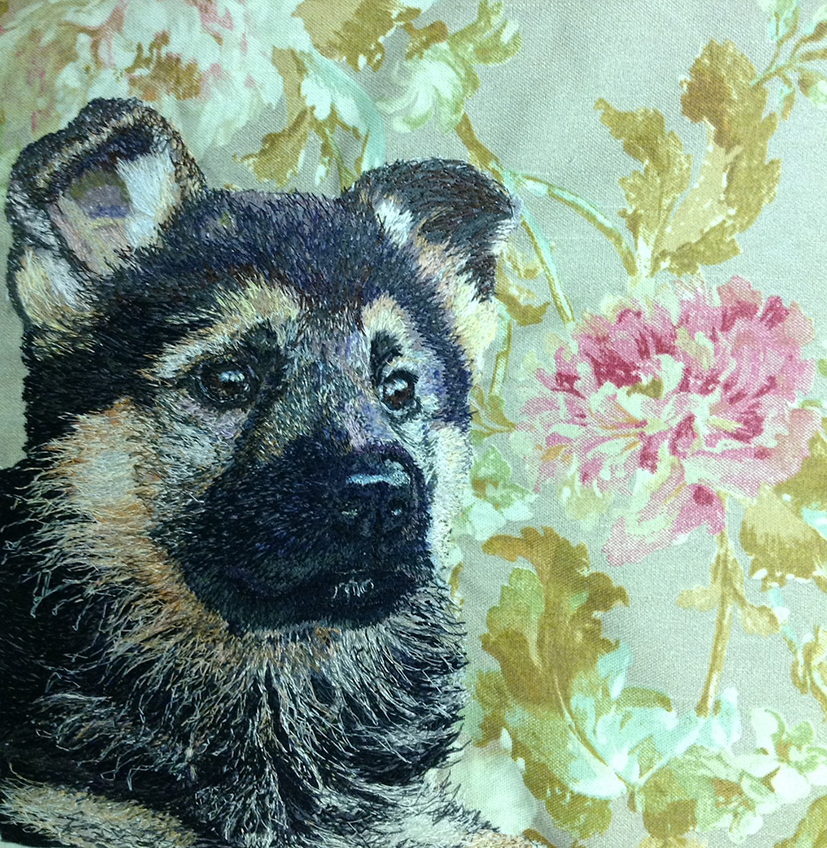 German shepard puppy machine embroidery