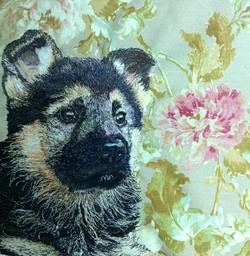 German shepard puppy machine embroidery