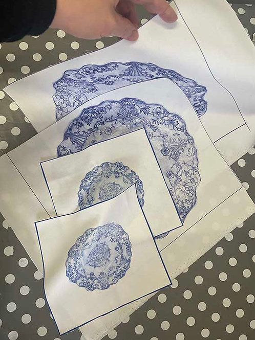 Set of Ornate Plate Embroidery Fabric Print Patterns 4 x Plates 4 x Coaster