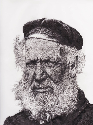 White beard fisherman dot drawing bright