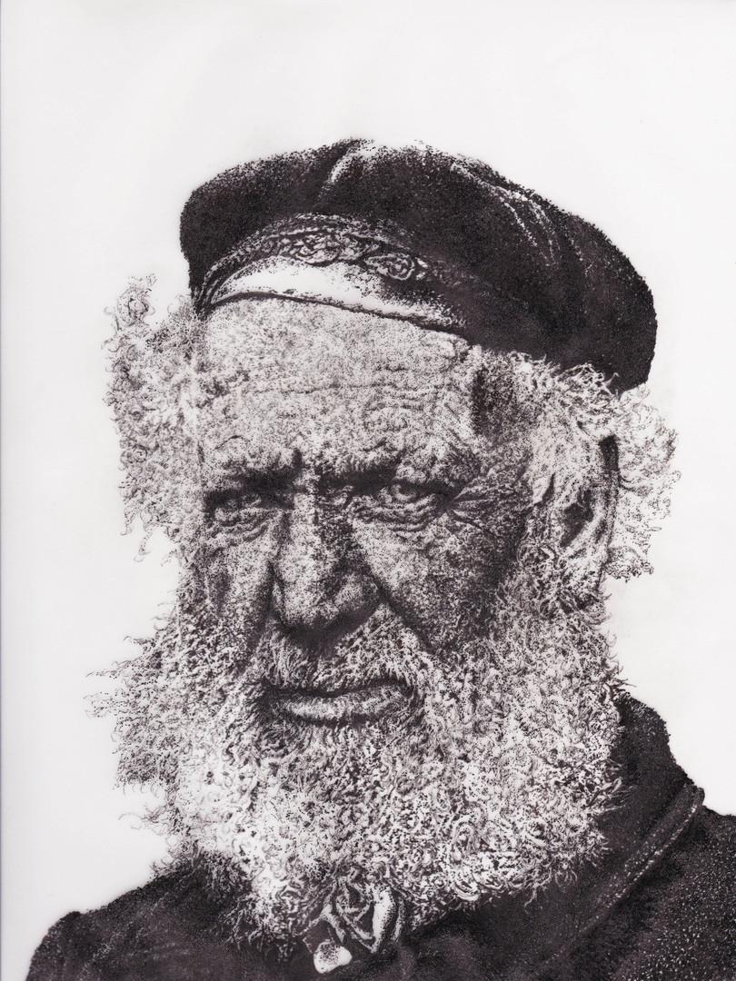 White beard fisherman dot drawing bright