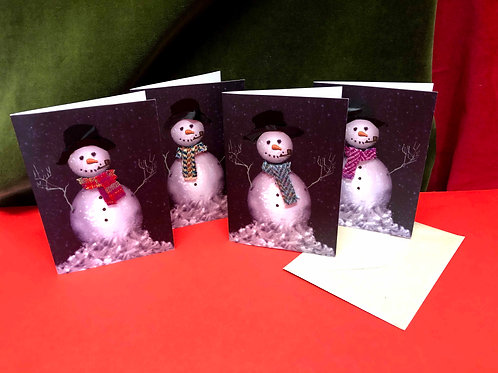 Hand Finished Luxury Snowmen Christmas Cards with Harris Tweed Scarves