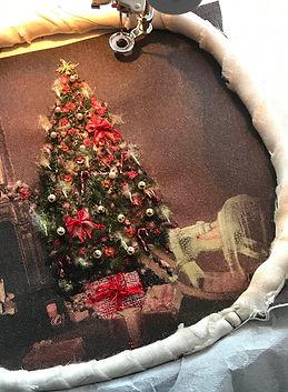 Christmas Fireplace Light Sewn Tree