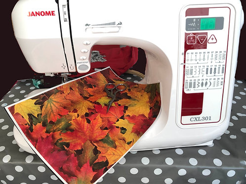 Autumn Leaves Fabric Embroidery Background Print