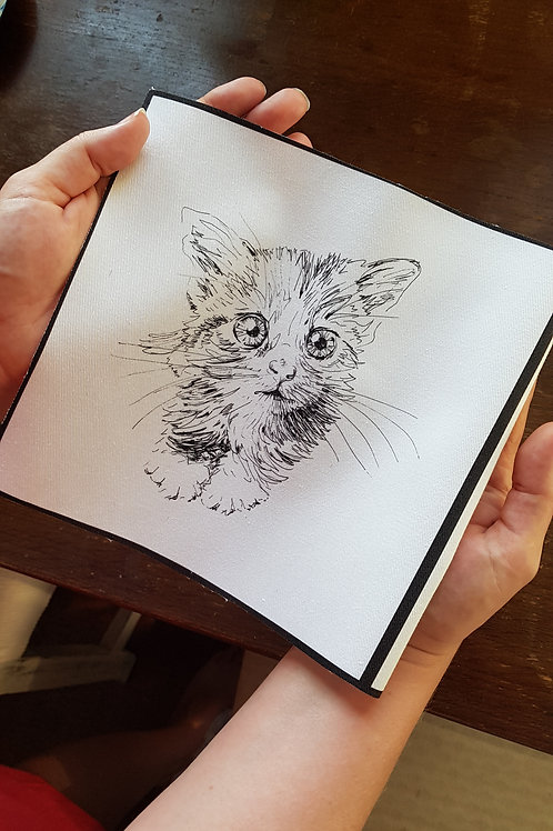 Freehand Machine Embroidery or Hand Embroidery Kitten Printed Fabric Pattern