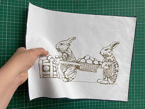 Embroidery Printed Background Fabric - Victorian Easter Bunny Design