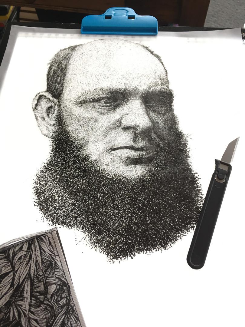Charles Fish Dot Pen & Ink Drawing