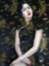 Black & Gold Applique Fashion Illustrati