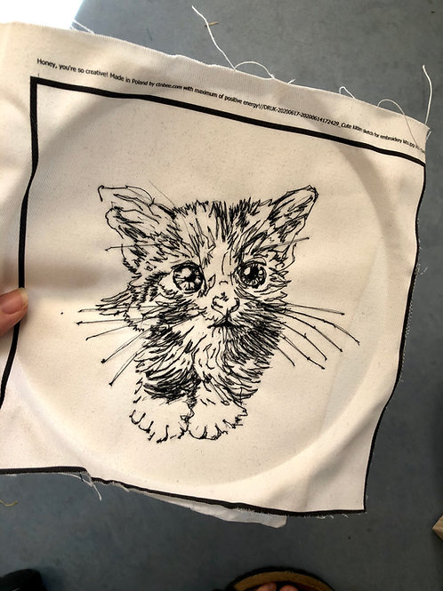 Freehand Machine Embroidered Sample of Cute Kitten