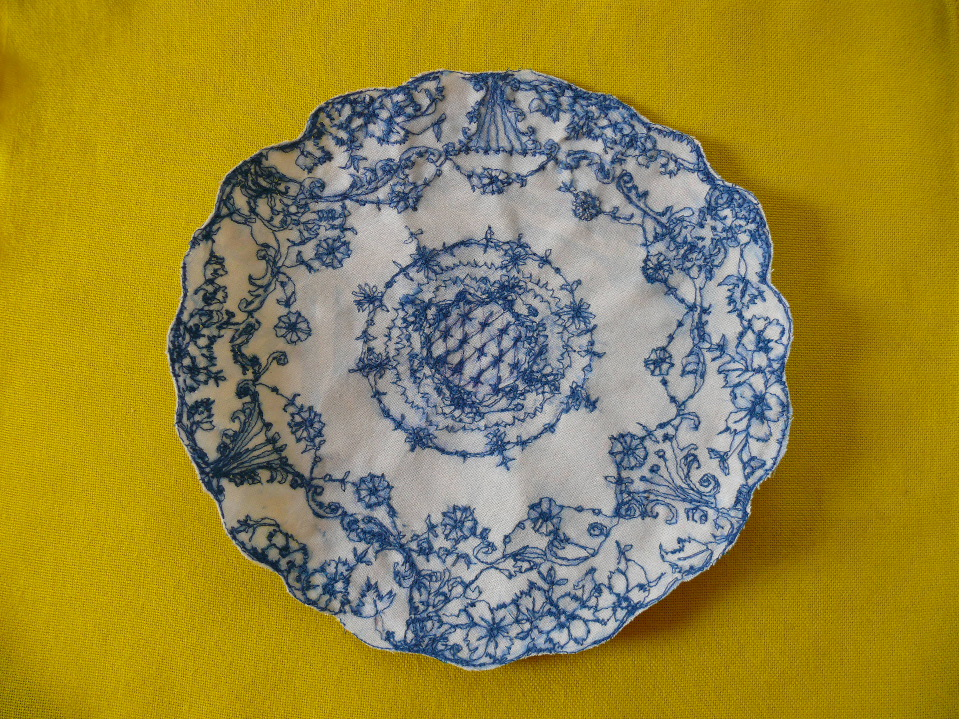 Embroidered plate