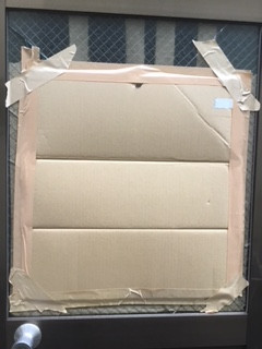 越谷市 南越谷 強風の為のガラス修理・交換