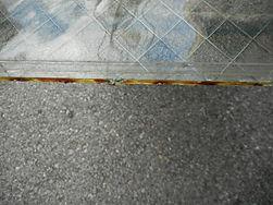 錆びたガラスの端