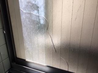 川口市 中町 ガラス修理前