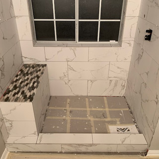 shower bench installation and tile