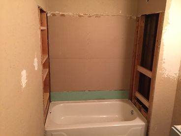 bathroom renovation underway