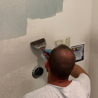 Dry wall work in the new laundry room