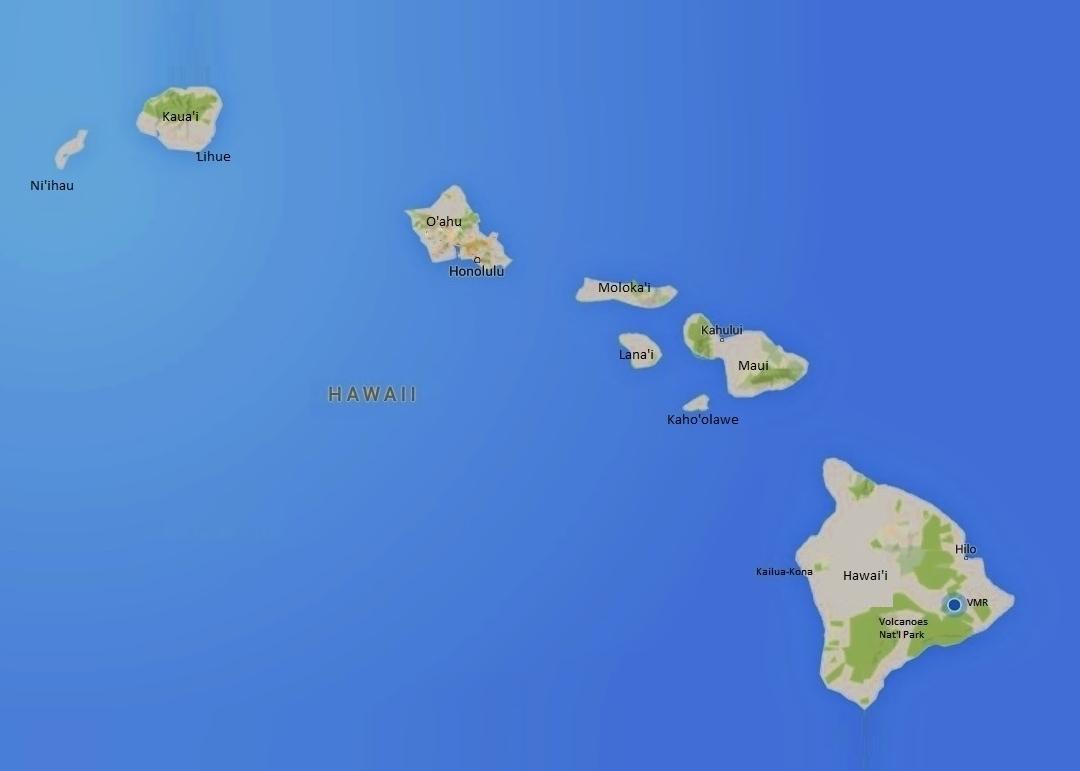 A Map of Main Hawaiian Islands volcano mountain retreat b&b big island hawaii