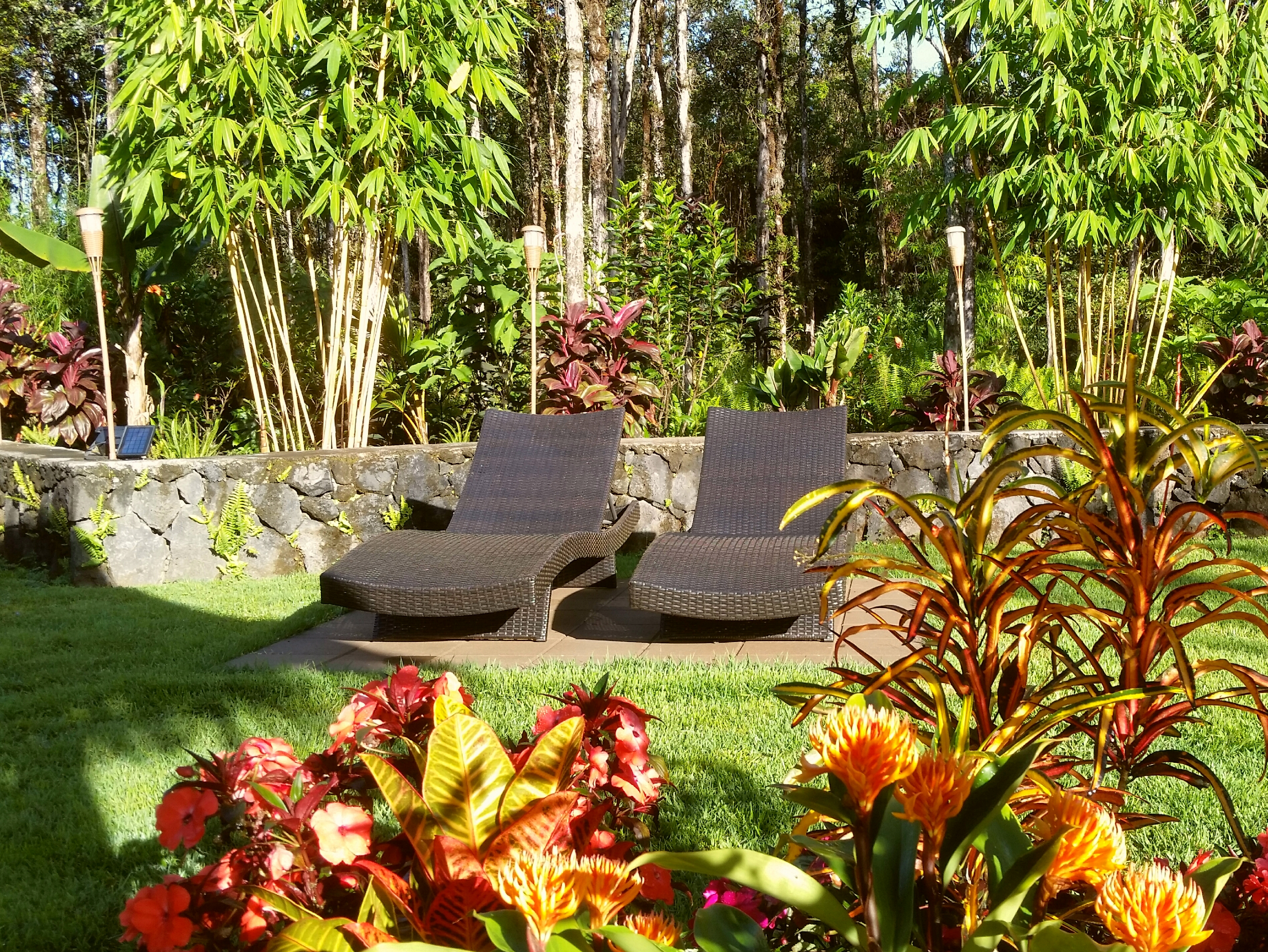 volcano mountain retreat b&b vmr big island hawaii garden lounge chairs