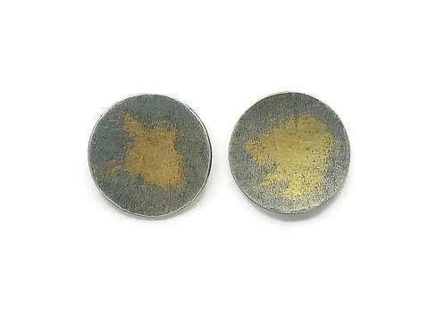 Gold a silver large abstract circle stud earrings for women.