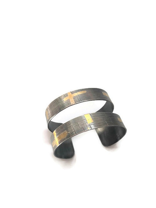 Open fine silver and gold cuff bracelet