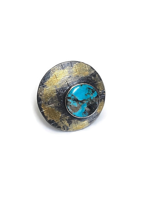 This bold turquoise ring features fine silver, sterling silver, kingsman turquoise and 24K gold foil.