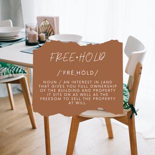 Sept 24 - Realtor Jargon: Freehold