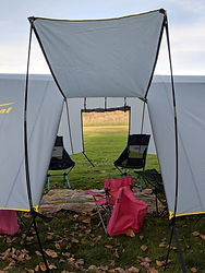 Forward WingTent door tethered, aft door in awning mode