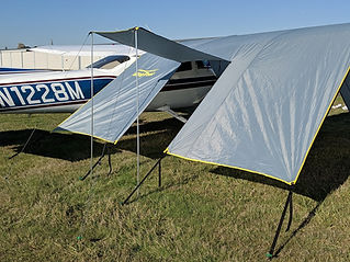 Stand your door panel up on poles (sold separately) as a shade awning