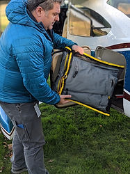 The WingTent fits easily into the baggage compartment