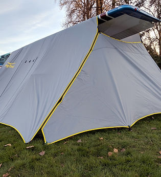 Use the grommets, not the straps, to tether your WingTent directly to the ground to keep the wind out, and to domicile inside.