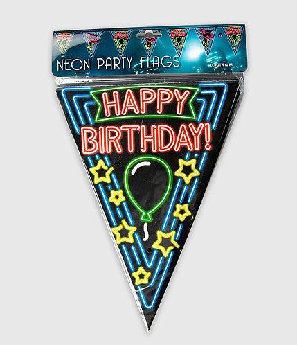 Neon Party Vlag Happy Birthday