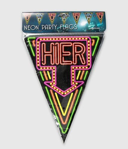 Neon Party Vlag Hier Is Het Feestje