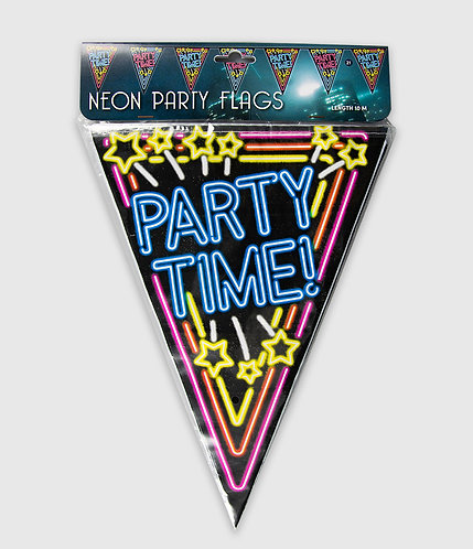 Neon Party Vlag Partytime