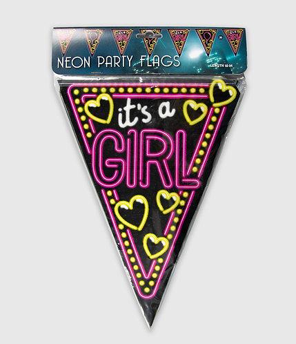 Neon Party Vlag Girl