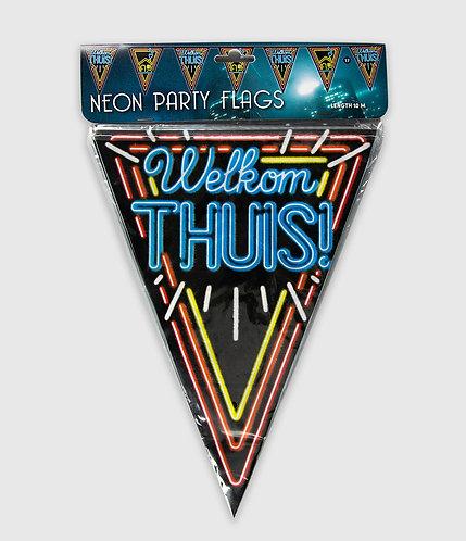 Neon Party Vlag Welkom Thuis