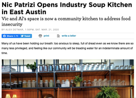 Nic Patrizi Opens Industry Soup Kitchen in East Austin