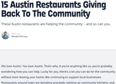15 Austin Restaurants Giving Back To The Community
