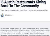 15 Austin Restaurants Giving Back To The Community