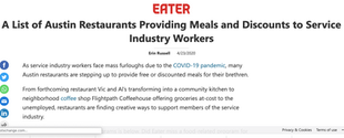 A List of Austin Restaurants Providing Meals and Discounts to Service Industry Workers