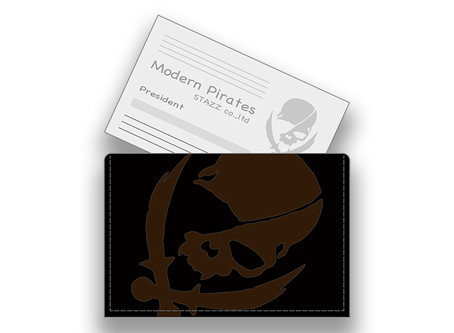 【 Leather Business Card Holder / Laser Engraving Modern Pirates Skull Design 】Released!!
