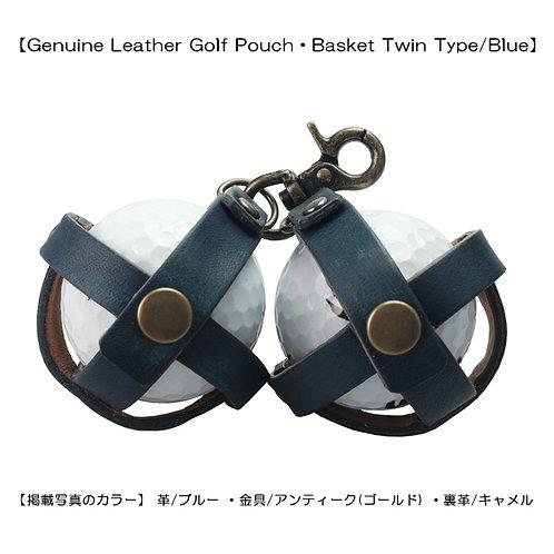 【本革製ゴルフボールポーチ・バスケット式ツインタイプ/ブルー】